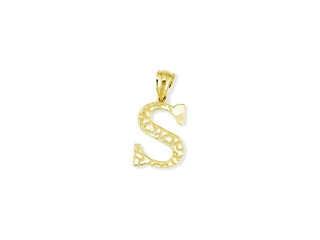 Solid 14k Yellow Gold Letter S Initial Nugget Pendant