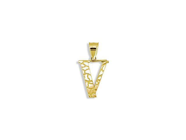 Solid 14k Yellow Gold Letter V Initial Nugget Pendant