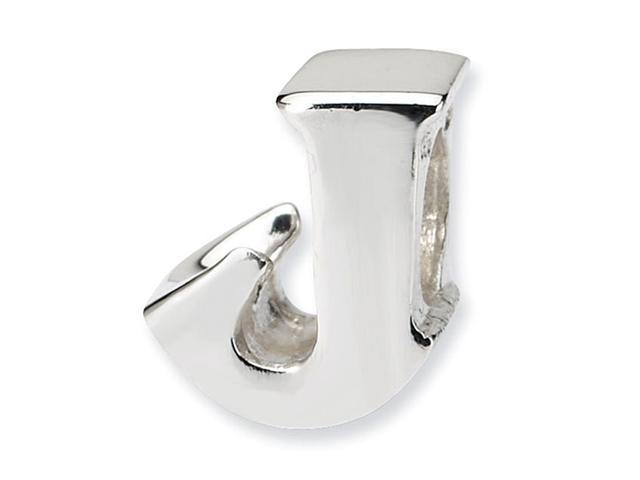 """925 Sterling Silver 7/16"""" Charm Letter J Jewelry Bead"""