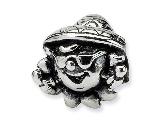 "925 Sterling Silver 1/4"" Kids Clown Charm Jewelry Bead"