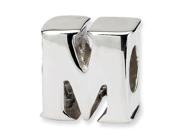 """925 Sterling Silver 7/16"""" Charm Letter M Jewelry Bead"""