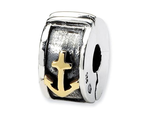 925 Sterling Silver 14k Anchor Hinged Clip Bead Charm