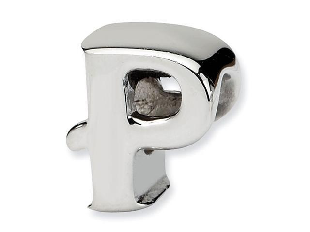 """925 Sterling Silver 7/16"""" Charm Letter P Jewelry Bead"""