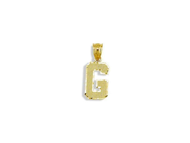 Solid 14k Yellow Gold Letter Initial G Charm Pendant