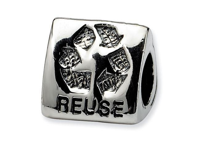 925 Silver Green Earth Three Sided Recycle Trilogy Bead