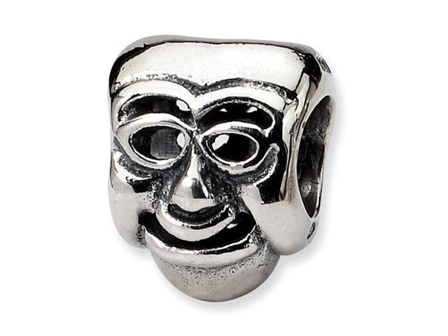 "925 Sterling Silver Charm Comedy Mask 1/4"" Jewelry Bead"