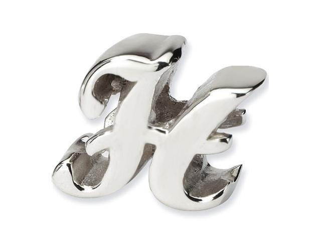 "925 Sterling Silver 7/16"" Charm Letter H Script Bead"