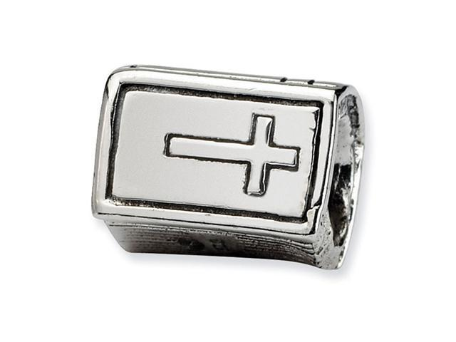 "925 Sterling Silver Cross Bible 1/4"" Charm Jewelry Bead"