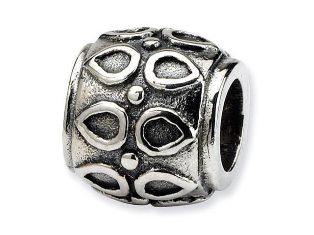 925 Sterling Silver Oval Dots Charm Barrel Bali Bead
