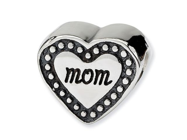"""925 Sterling Silver Charm 3/8"""" MOM Heart Shaped Bead"""