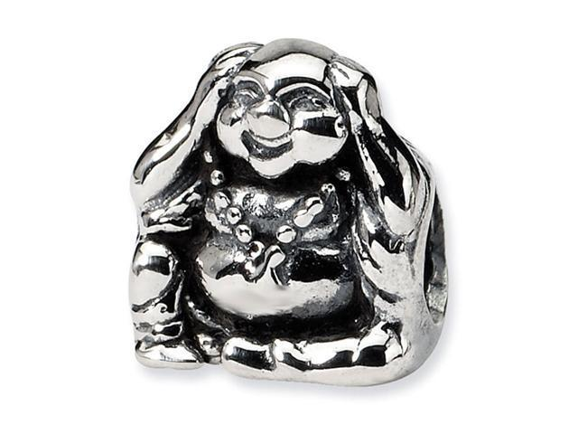 925 Sterling Silver Hear No Evil Buddha Jewelry Bead