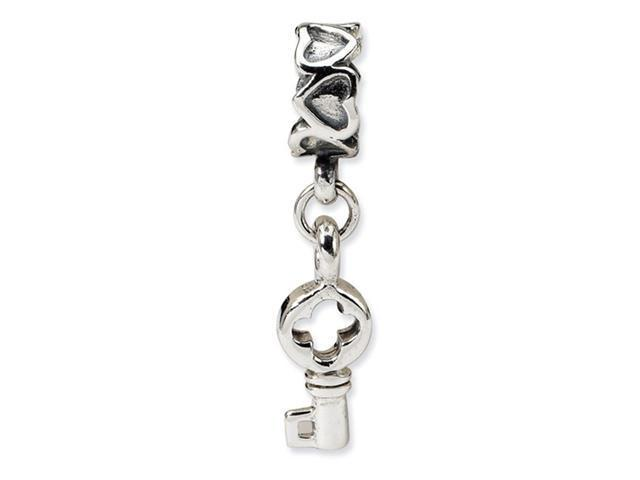 925 Sterling Silver Charm Heart Key Dangle Jewelry Bead