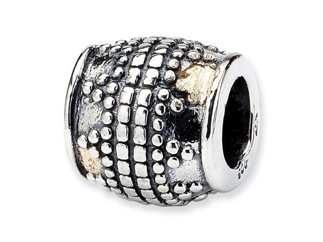 Solid 925 Sterling Silver Squares Dots Barrel Bali Bead