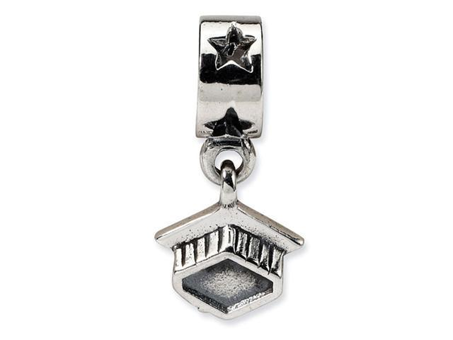 925 Sterling Silver Graduation Hat Cap Star Dangle Bead