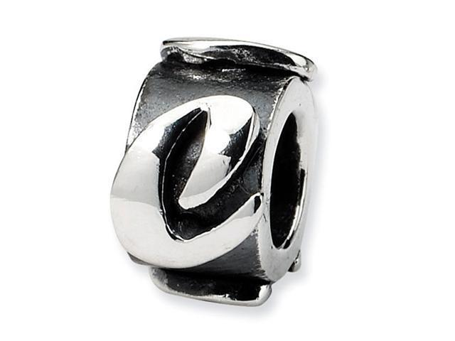"925 Sterling Silver 3/8"" Charm Letter C Message Bead"