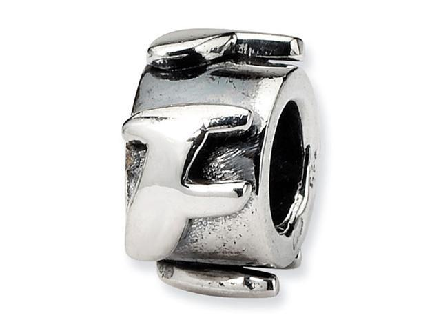 "925 Sterling Silver 3/8"" Charm Letter F Message Bead"