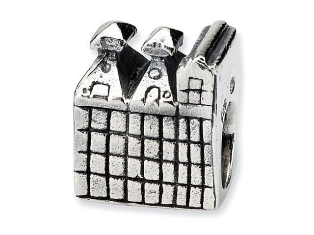 "925 Sterling Silver 3/8"" Charm Castle Jewelry Bead"