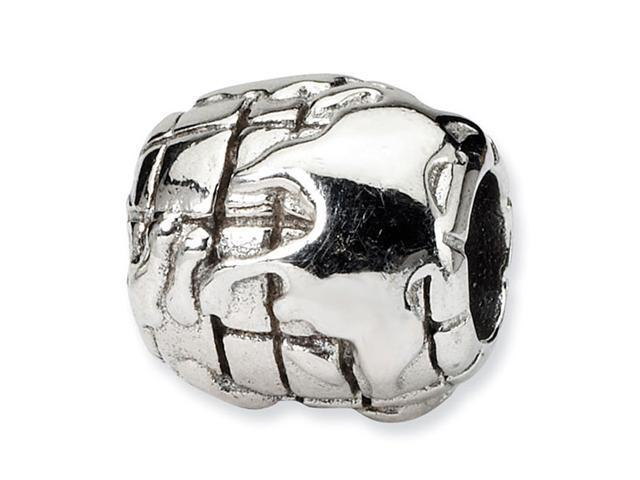 "Solid 925 Sterling Silver Charm World 3/8"" Jewelry Bead"