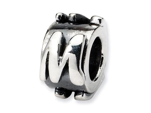 "925 Sterling Silver 3/8"" Charm Letter M Message Bead"