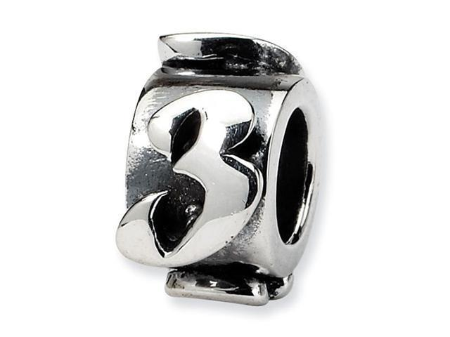 "925 Sterling Silver 3/8"" Number 3 Message Jewelry Bead"