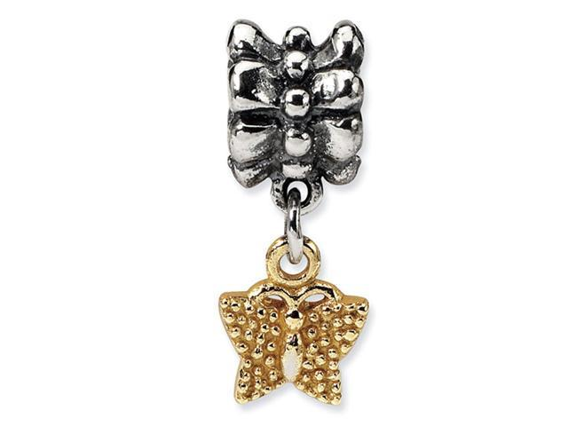 Plated 14k Gold 925 Silver Charm Butterfly Dangle Bead
