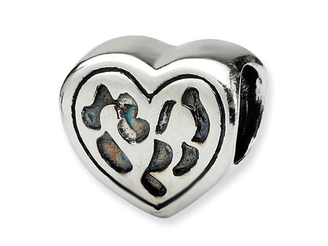 925 Sterling Silver Heart Shaped Charm Jewelry Bead