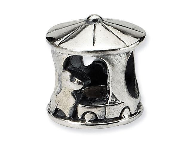 "925 Sterling Silver Charm Carousel 3/8"" Jewelry Bead"