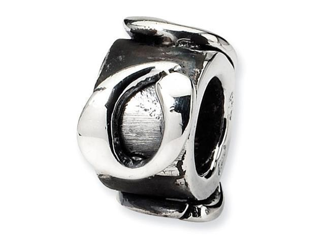 "925 Sterling Silver 3/8"" Charm Letter O Message Bead"