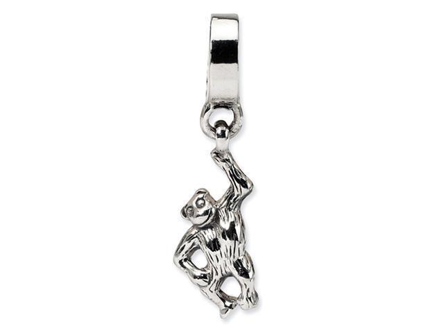 925 Sterling Silver Monkey Charm Dangle Jewelry Bead