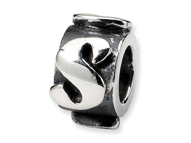 "925 Sterling Silver 3/8"" Charm Letter S Message Bead"
