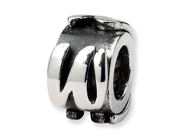 "925 Sterling Silver 3/8"" Charm Letter W Message Bead"