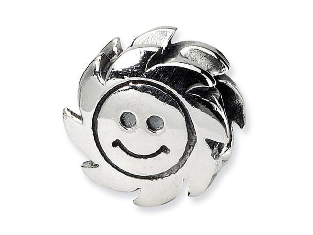 "Solid 925 Sterling Silver Charm 3/8"" Smiling Sun Bead"