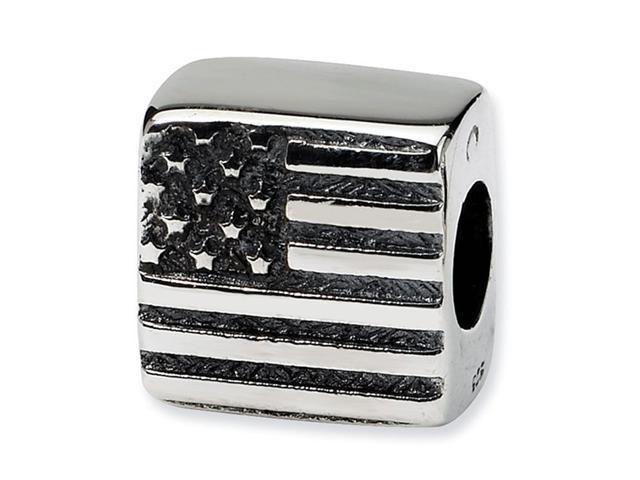925 Sterling Silver USA American Flag Jewelry Bead