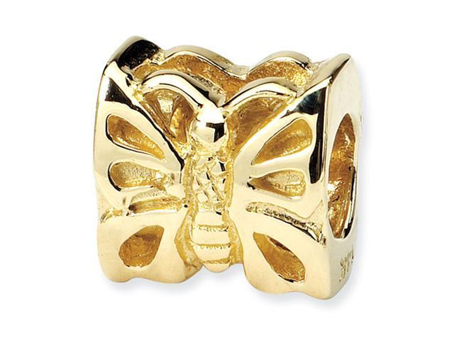 """Solid 14k Yellow Gold 3/8"""" Butterfly Charm Jewelry Bead"""