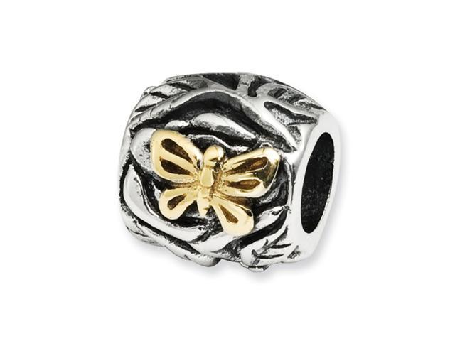 """Plated 14k Gold 925 Sterling Silver 3/8"""" Butterfly Bead"""