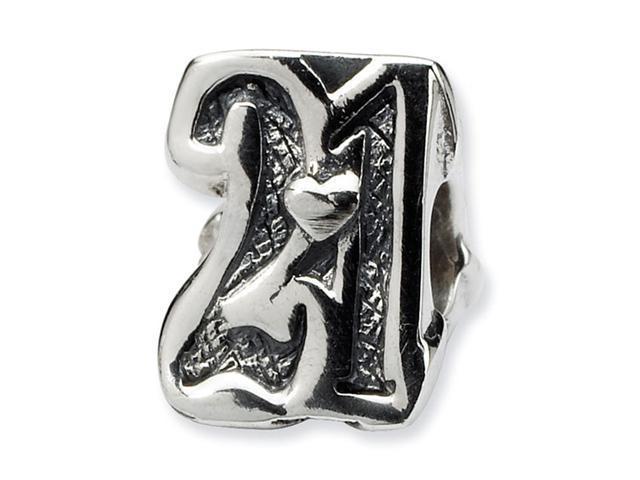 "925 Sterling Silver 3/8"" Sweet 21 Birthday Jewelry Bead"