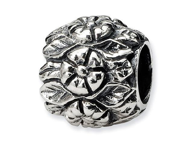 "925 Sterling Silver Raised Flowers 3/8"" Charm Bead"