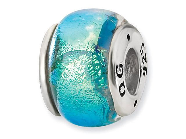 925 Sterling Silver Blue Dichroic Glass Jewelry Bead