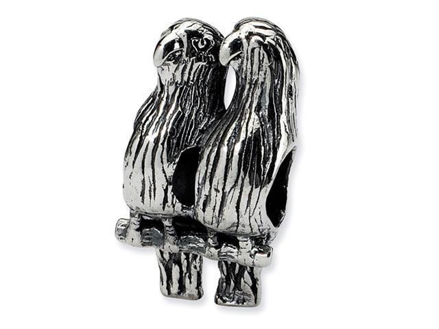 "925 Sterling Silver 3/8"" Love Birds Animal Jewelry Bead"