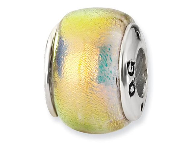 925 Sterling Silver Dichroic Glass Orange Jewelry Bead