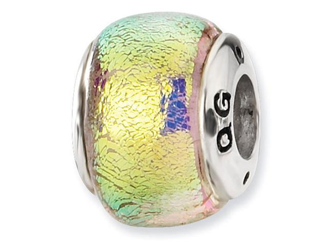 925 Sterling Silver Dichroic Glass Yellow Jewelry Bead