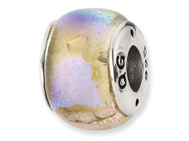 925 Silver Pastel Multicolor Charm Dichroic Glass Bead