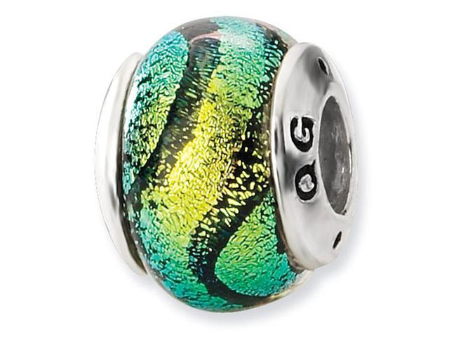 925 Sterling Silver Yellow Stripes Dichroic Glass Bead
