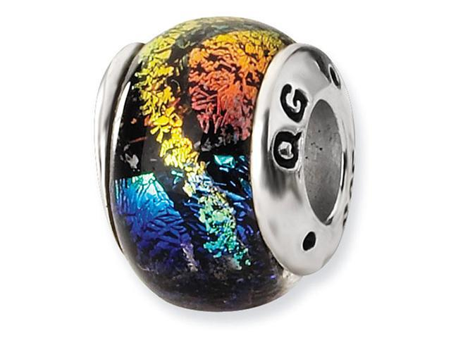 925 Sterling Silver Rainbow Stripes Dichroic Glass Bead