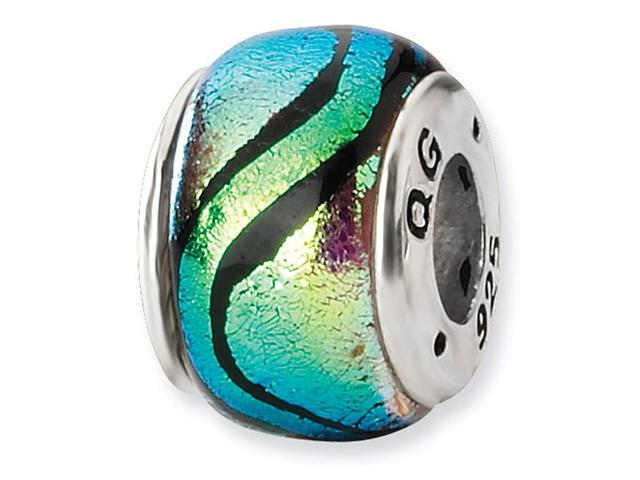 "925 Silver 1/4"" Green Black Stripe Dichroic Glass Bead"