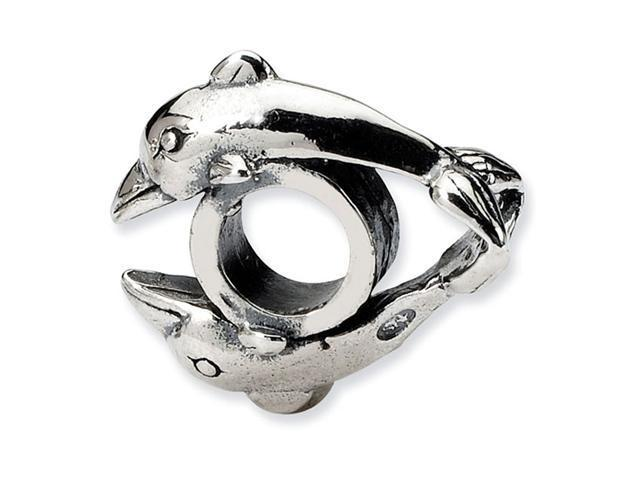 """925 Sterling Silver Double Dolphins 1/4"""" Jewelry Bead"""