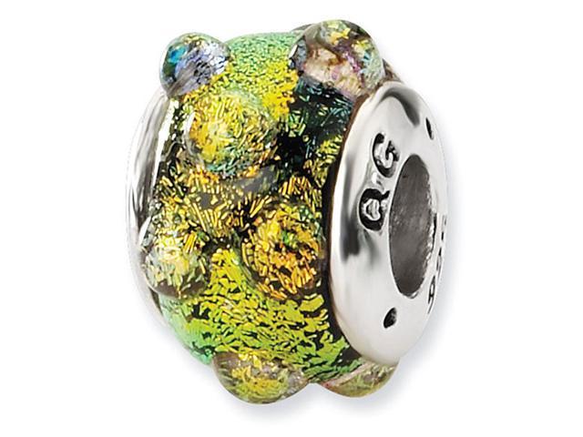 925 Silver Orange Bubbles Dichroic Glass Jewelry Bead