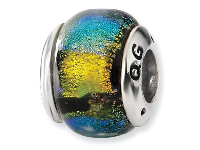 925 Silver Yellow Multicolor Charm Dichroic Glass Bead