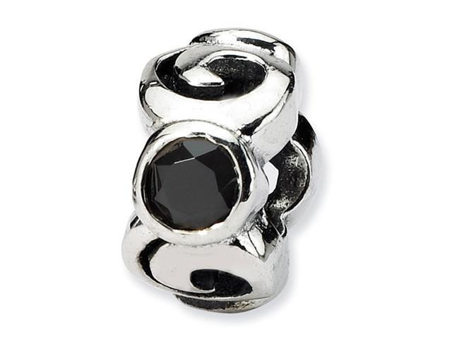 925 Sterling Silver Swirls 1/4��� Black CZ Jewelry Bead