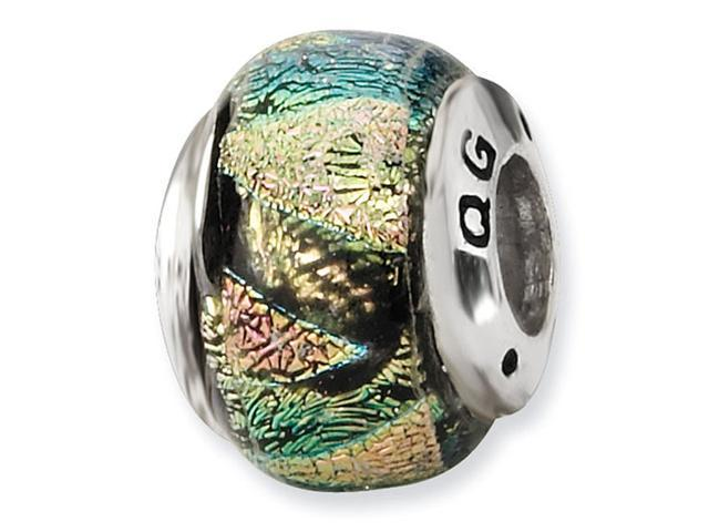 """925 Sterling Silver 1/4"""" Multicolor Dichroic Glass Bead"""